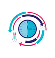 time clock with arrows isolated icon vector image vector image