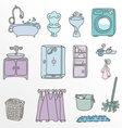 Various types of furniture for bathroom in elegant vector image