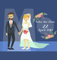 wedding couple in blue spotlight vector image