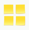 yellow stick note set four sticky notes vector image