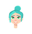 young girl with big green eyes and blue hair vector image vector image