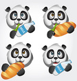 Icon set with panda vector image
