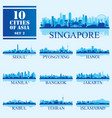 10 asian cities set of vector image