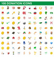 100 donation icons set cartoon style vector image vector image