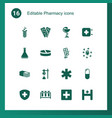 16 pharmacy icons vector image vector image