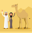 arab couple family muslim people and camel vector image vector image
