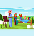 arabian family barbecue picnic vector image vector image
