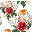 autumn dahlia flowers herbs and hetbs seamless vector image
