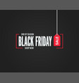 black friday sale sign on black background vector image vector image