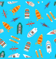 cartoon color boats top view vector image