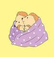cartoon cute autumn mom and baby hedgehogs vector image vector image