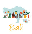 cartoon with bali landmarks symbols vector image vector image