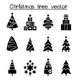 christmas tree icon set in flat style vector image