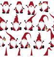 chritmas seamless pattern with gnomes vector image vector image
