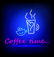 coffee blue glowing neon ui ux icon glowing sign vector image