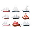 collection yachts sailboats or sailing ships vector image