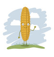 colorful background with cartoon corn vector image vector image