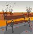 Empty wooden bench in city park in autumn vector image