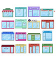 flat city shops and stores buildings icons vector image