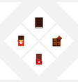 flat icon bitter set of cocoa dessert chocolate vector image vector image