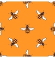 Flying bees seamless pattern in bright vector image