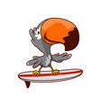 funny humanized toucan standing on surfing board vector image