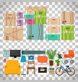 furniture and boxes icons set vector image vector image