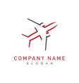 grey and red plane logo vector image vector image