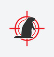 groundhog silhouette animal pest icon red target vector image vector image