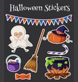 halloween stickers with kid in costume vector image