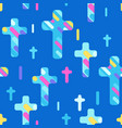 happy easter seamless pattern with crosses vector image