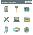 Icons line set premium quality of basic business vector image vector image