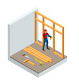 isometric professional carpenters drilling wood vector image