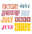 july word lettering vector image vector image