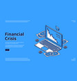 landing page financial crisis with laptop icon vector image