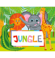 lion giraffe elephant and crocodile vector image