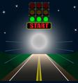 luminous scoreboard start on the road vector image