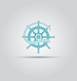 marine helm wheel and rope isolated icon vector image