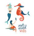 mermaid marine life hand drawn flat characters vector image
