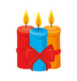 merry christmas candles with bow vector image