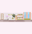 modern babedroom with crib and bunk bed empty vector image