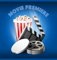 movie premiere film reel popcorn box and film vector image vector image