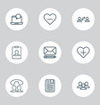 network icons set with staff follow notification vector image vector image