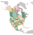 north america map with usa canada and mexico vector image vector image