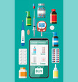 phone with internet pharmacy app vector image vector image