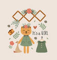 poster with cat girl and bohemian elements vector image vector image