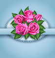 Roses postcard blue vector image vector image