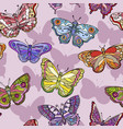seamless pattern with colorful butterflies vector image vector image