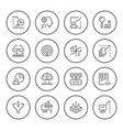 set round line icons of data analytics vector image