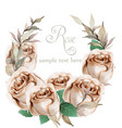 spring roses watercolor wreath frame beautiful vector image vector image